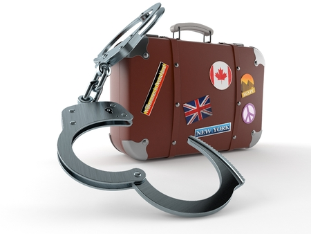 Travel case with handcuffs isolated on white background. 3d illustration