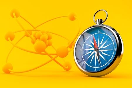 fondo de la ciencia con la brújula en el círculo naranja. ilustración 3d