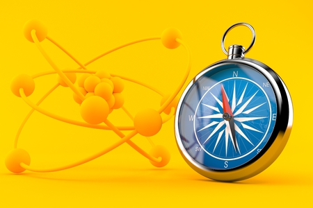 Science background with compass in orange color. 3d illustration