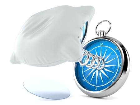Pillow with compass isolated on white background. 3d illustration
