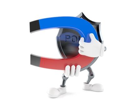 Police badge character holding horseshoe magnet isolated on white background. 3d illustration
