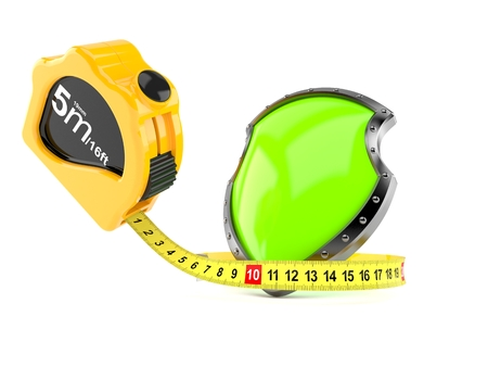 Protective shield with measuring tape isolated on white background. 3d illustration Stock Illustration - 108068889