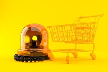 Shopping background with emergency siren in orange color. 3d illustration