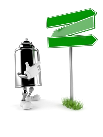 Spray can character with blank signpost isolated on white background. 3d illustration