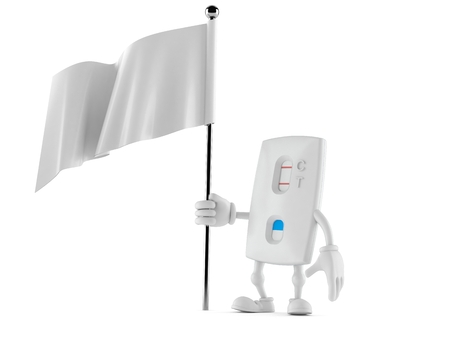 Pregnancy test character holding blank flag isolated on white background. 3d illustration