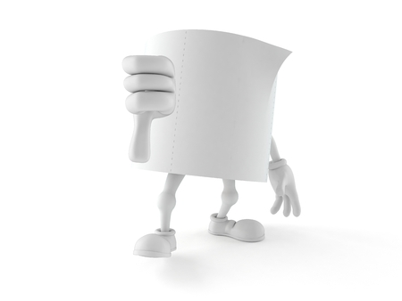 Toilet paper character with thumbs down gesture isolated on white background. 3d illustration