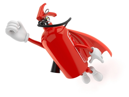 Fire extinguisher character with hero cape isolated on white background. 3d illustration Stockfoto