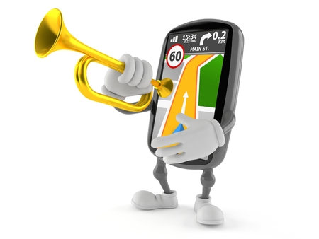 GPS navigation character playing the trumpet isolated on white background. 3d illustration