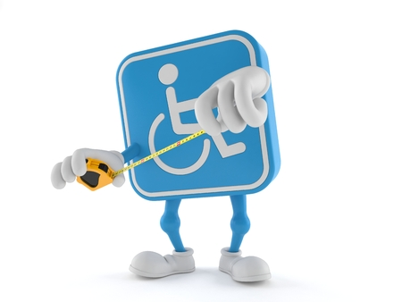 Handicapped character holding measuring tape isolated on white background. 3d illustration Stockfoto