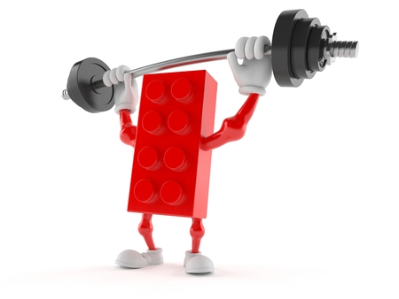 Toy block character lifting heavy barbell isolated on white background. 3d illustration