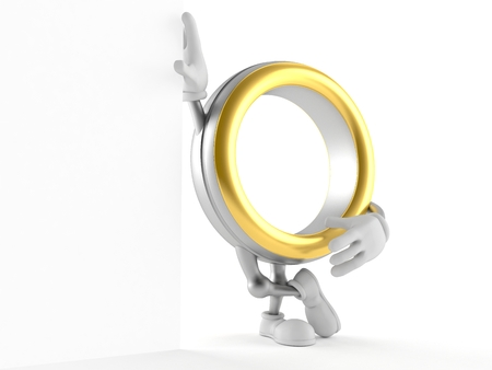 Wedding ring character isolated on white background. 3d illustration Banco de Imagens