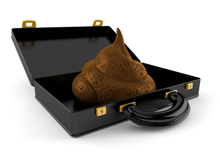 Dung poo inside open briefcase isolated on white background. 3d illustration