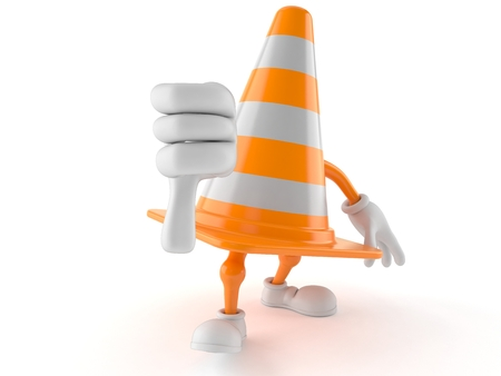 Traffic cone character with thumbs down gesture with thumbs up isolated on white background. 3d illustration Stock Photo