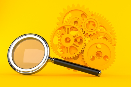Teamwork background with magnifying glass in orange color. 3d illustration