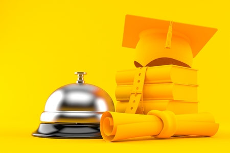 Education background with hotel bell in orange color. 3d illustration