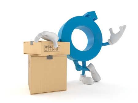 Male gender symbol character with stack of boxes isolated on white background. 3d illustration