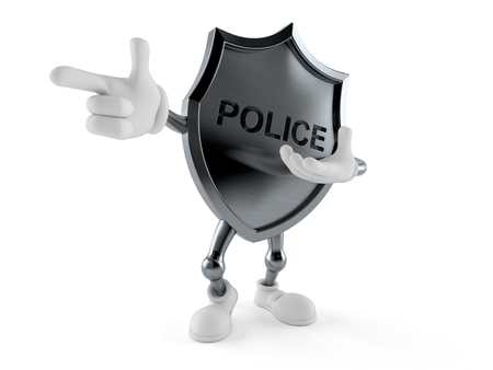Police badge character pointing finger isolated on white background. 3d illustration