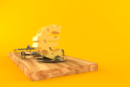 Mouse trap with euro currency symbol isolated on orange background. 3d illustration Stock Photo