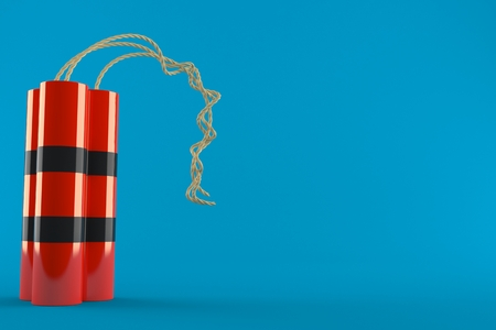 Dynamite isolated on blue background. 3d illustration