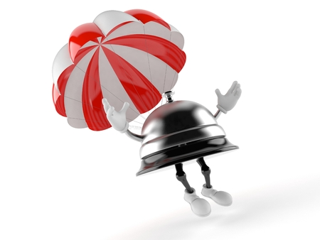 Hotel bell character with parachute isolated on white background. 3d illustration