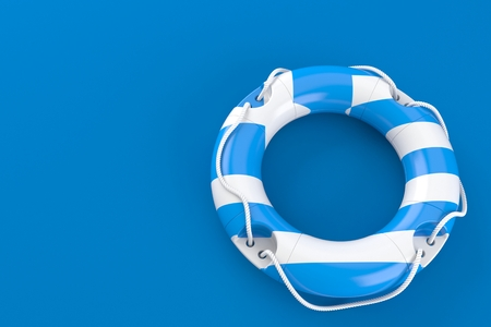 Life buoy with greek flag isolated on blue background. 3d illustration Foto de archivo