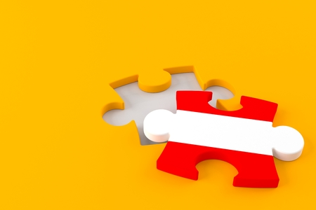 Jigsaw puzzle with austrian flag isolated on orange background. 3d illustration