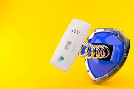 Pregnancy test with shield isolated on orange background. 3d illustration