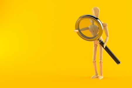 Wooden dummy with magnifying glass isolated on orange background. 3d illustration