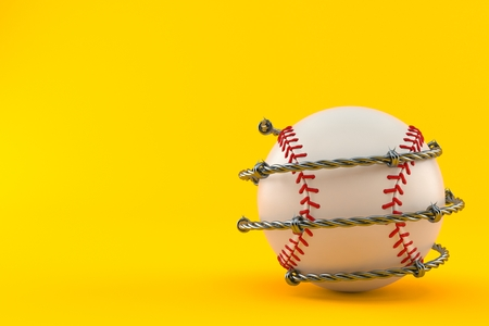Baseball ball with barbed wire isolated on orange background. 3d illustration