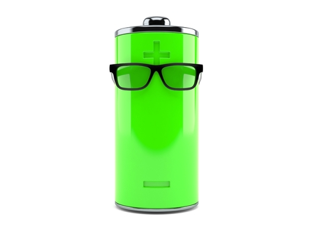 Green battery with glasses isolated on white background. 3d illustration Foto de archivo