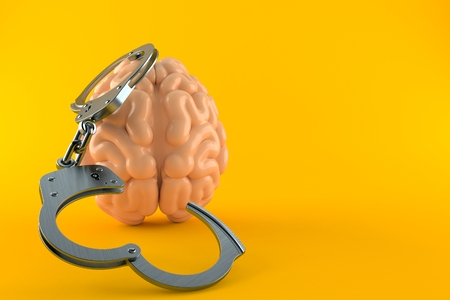 Brain with handcuffs isolated on orange background. 3d illustration