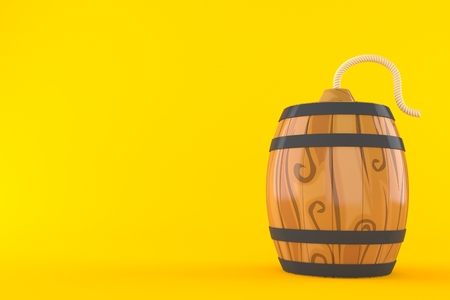 Wine cask with bomb wick isolated on orange background. 3d illustration