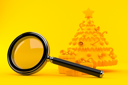 Christmas background with magnifying glass in orange color. 3d illustration
