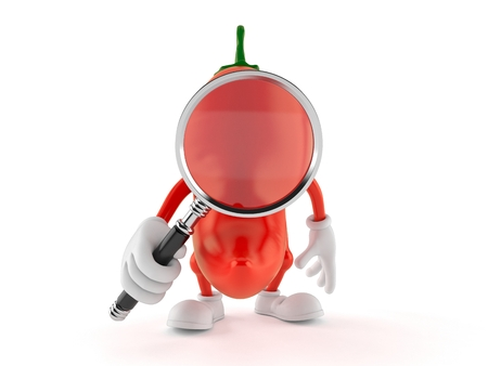 Hot paprika character looking through magnifying glass isolated on white background. 3d illustration Stock Photo