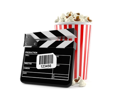 Popcorn and clapboard with barcode sticker isolated on white background. 3d illustration