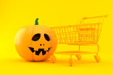 Shopping background with jack olantern in orange color. 3d illustration