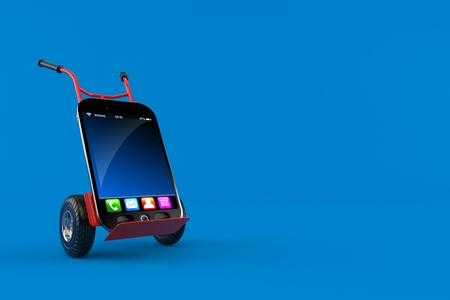 Smartphone with hand truck isolated on blue background. 3d illustration