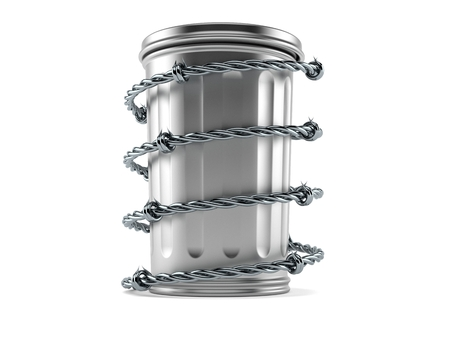 Trash can with barbed wire isolated on white background. 3d illustration