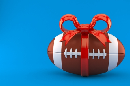 Rugby ball with red ribbon isolated on blue background. 3d illustration Imagens