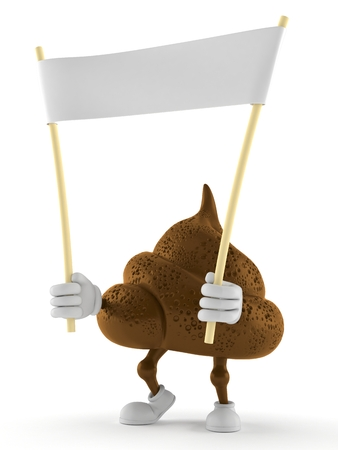 Poop character holding blank banner isolated on white background. 3d illustration Stock fotó