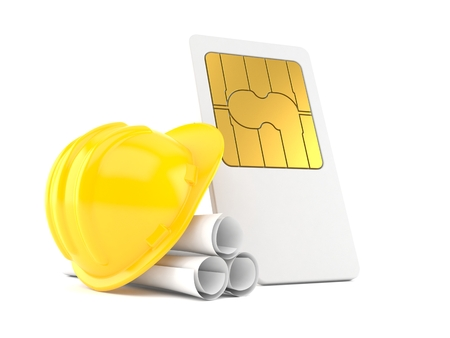 SIM card with blueprints isolated on white background. 3d illustration Stock Photo