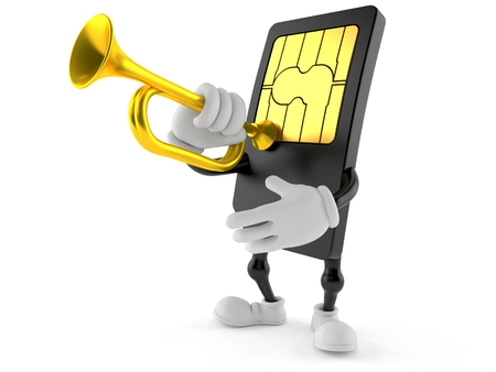 SIM card character playing the trumpet isolated on white background. 3d illustration