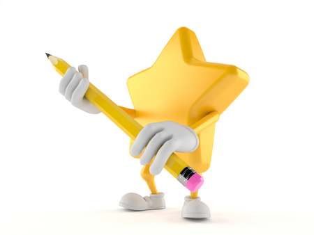 Star character holding pencil isolated on white background. 3d illustration Фото со стока
