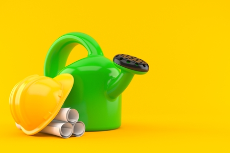 Watering can with blueprints isolated on orange background. 3d illustration Stock Photo