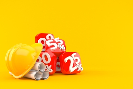 Percent numbers with blueprints isolated on orange background. 3d illustration Stock Photo