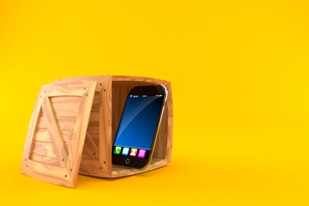 Smartphone inside cargo crate isolated on orange background. 3d illustration
