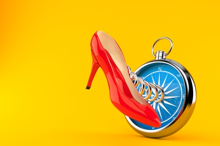 Red heel with compass isolated on orange background. 3d illustration