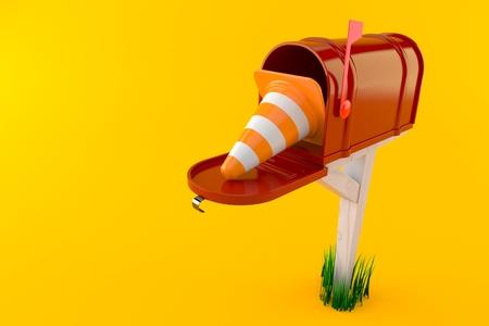 Open brievenbus met verkeerskegel die op oranje achtergrond wordt geïsoleerd. 3D-afbeelding