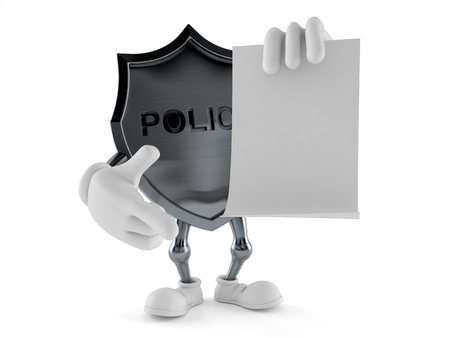Police badge character with blank sheet of paper isolated on white background. 3d illustration