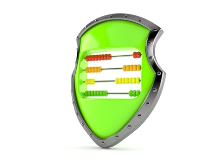 Protective shield with abacus isolated on white background. 3d illustration